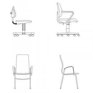 Bloc cad de Les chaises de bureau en dwg