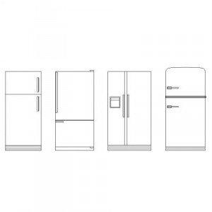Bloc cad de Réfrigérateurs en élévation en dwg