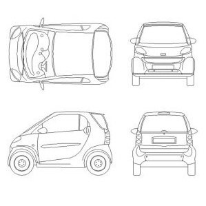 Bloc cad de Smart voiture en dwg