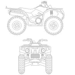 Bloc cad de 4 roues – Quad en dwg