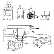 Bloc cad de Personnes handicapées, en fauteuil roulant, ambulance en dwg
