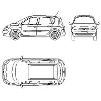 Bloc cad de Renault Megane Scenic en dwg