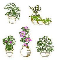 Bloc cad de Pots de fleurs en dwg