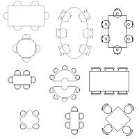 Bloc cad de Tables, différentes formes en dwg