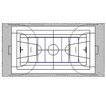 Bloc cad de Cour basket, volley, salle de sport en dwg