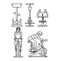 Bloc cad de Spin Bike, vélo de spinning en dwg