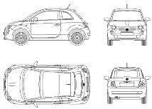 Bloc cad de Nouvelle Fiat 500 en dwg