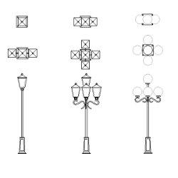 Bloc cad de Lanternes de rue, lampadaires en dwg